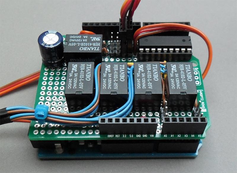 Das montierte Bahnhofs-Shield auf einem Arduino Leonardo